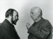 Rein Veidemann vestlemas Valmar Adamsiga XXV Kreutzwaldi päevadel 26/27. dets. 1981. a. Kirjandusmuuseumis - KM EKLA