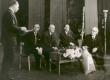 V. Beekman kõnelemas Fr. Tuglase 80. sünnipäeval 1966. a. Istuvad J. Smuul, R. Sirgo, P. Rummo ja Fr. Tuglas - KM EKLA