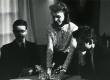 """Luuleteatri """"Varius"""" etendus """"Arbujate aegu"""". R. Sarapik (A. Sang), A. Männik (K. Merilaas) ja J. Sarapuu (B. Kangro) 1988  - KM EKLA"""