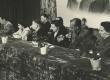 EN kirjanike III kongress 1954. a. juuni. Presiidium: vas. 1. A. Tokombajev, 2. M. Aliger, 3. ? 4. V. Sobko, 5. M. Talvet, 6. M. Raud, 7. Ljubimova - KM EKLA