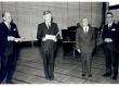 Joh. Aavikule Eesti Kultuurifondi auhinna üleandmine 1969. a. veebruaris. B. Görman, Künnapas, J. aavik, V. Tauli - KM EKLA
