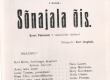 """E. Peterson-Särgava """"Sõnajala õie"""" kavaleht """"Estonias"""" 1920/21 - KM EKLA"""