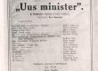 """E. Peterson-Särgava """"Uue ministri"""" kavaleht """"Estonias"""" 1922/23 - KM EKLA"""