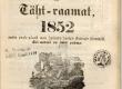Maarahva Kasuline Kalender 1852