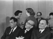 M. Kesamaa, M. Raud, P. Rummo, E. Niit, J. Kross, V. Luik kirjanduslikul teisipäeval 4. mai 1971 - KM EKLA