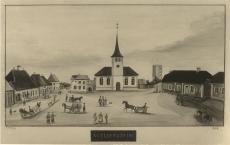 Paide kesklinn.  F. Wilberg,  akvarell, 1856