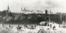 Tallinn 19. sajandi keskel, vaade Viru väravast linnale. E. Mohstein,  joonis